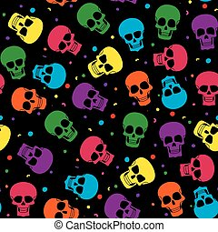 Colored skul pattern - Funny colored skull seamless pattern,...