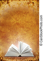 Magic book - Vertical grunge background with magic book