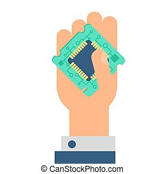 Computer Processor Chip in hand. Symbol of programmer hard...