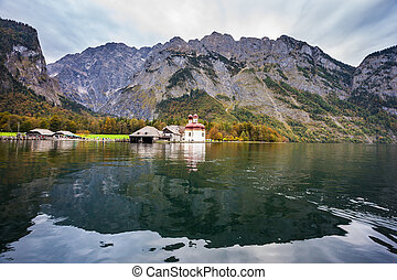 Church of St. Bartholomew - Dreamlike lake Konigssee. Red...