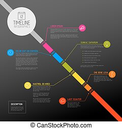 Vector Infographic diagonal timeline report template with...