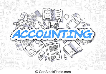 Accounting - Cartoon Blue Word. Business Concept. - Business...