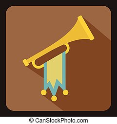 Trumpet with flag icon, flat style - icon in flat style on a...