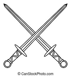 Medieval swords icon, outline style - icon in outline style...