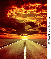 Old road - Majestic storm sunset and old road