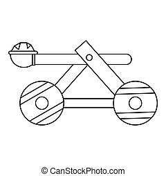 Wooden catapult icon, outline style - icon in outline style...
