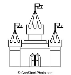 Fortress icon in outline style on a white background vector...
