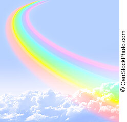 Rainbow - Beautiful bright rainbow in the blue sky