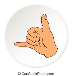 Gesture surfing icon, cartoon style - Gesture surfing icon...