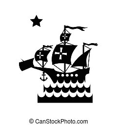 Ship with flag of Columbus in sea icon in simple style...