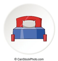 Bed icon, cartoon style