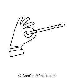 Hand with magic wand icon, outline style - Hand with magic...