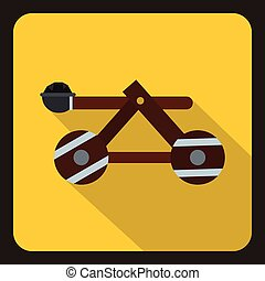 Medieval wooden catapult icon, flat style - icon in flat...