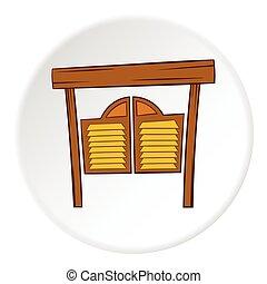 Cowboy door icon, cartoon style