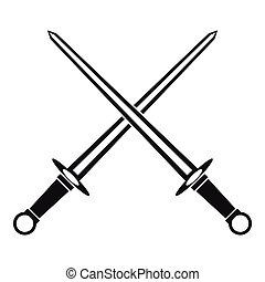 Swords icon in simple style - icon in simple style on a...