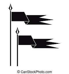 Ancient battle flags icon, simple style - icon in simple...