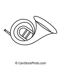 Horn trumpet icon, outline style - Horn trumpet icon in...