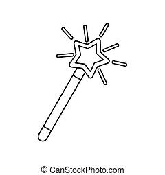 Magic wand icon, outline style - Magic wand icon in outline...
