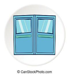 Double door for restaurant icon, cartoon style - Double door...