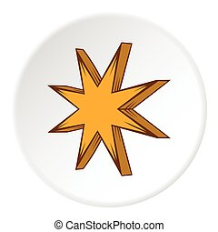 Eight pointed star icon, cartoon style - Eight pointed star...