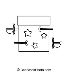 Box of tricks with daggers icon, outline style - Box of...