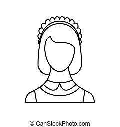 Maid icon, outline style - Maid icon in outline style...
