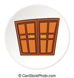 Double door icon, cartoon style - Double door icon in...