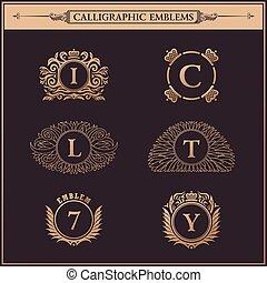 Vintage flourishes elements. Calligraphic ornaments set -...