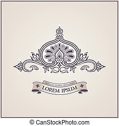 Calligraphic luxury symbol. Emblem ornate decor elements....