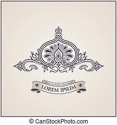 Calligraphic luxury symbol. Emblem ornate decor elements....