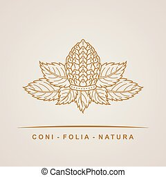 Vector pine cone emblem. Outline leaves nature symbol,...