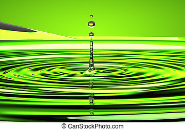 water droplet and waves over green - Splash of water droplet...