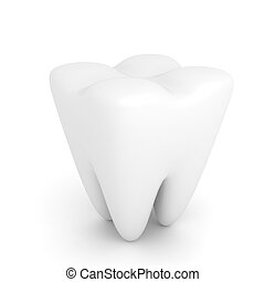 Tooth over white background 3d render