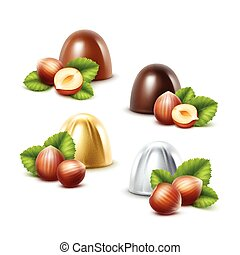 Set of Black Milk Chocolate Candies with Hazelnuts - Vector...