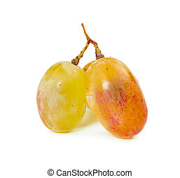 Three berries of yellow grape isolated on white background