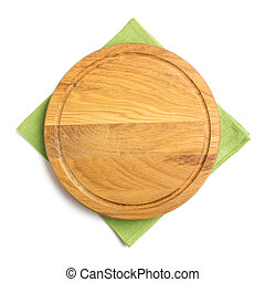 napkin at cutting board on white background