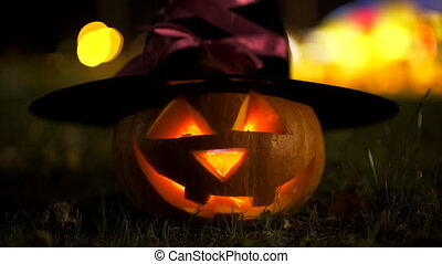 Jack o'lantern in witch hat, halloween symbol