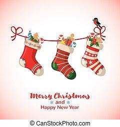 Christmas greeting card with socks. - Christmas greeting...