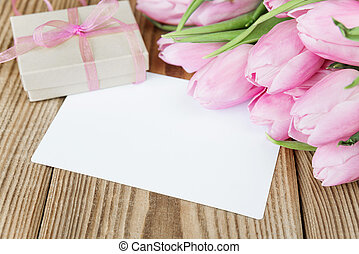 Flowers, greeting card and gift box - Tulips flowers, empty...