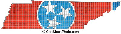 Tennessee map with flag inside