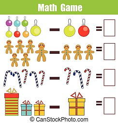 Math educational game for children, subtraction worksheet,...