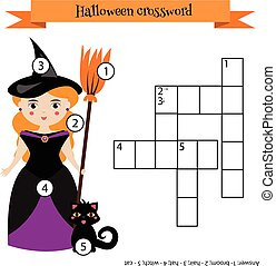 Crossword educational children game with answer. Halloween...