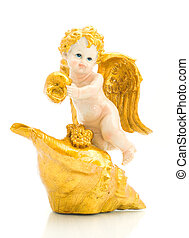 Beautiful angel with shell - Close-up of beautiful angel...