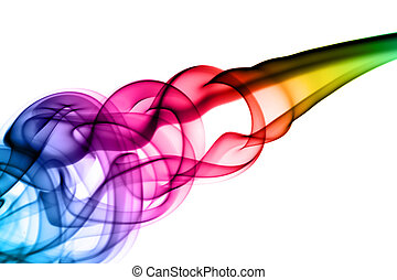 Bright colorful smoke Abstraction on white - Bright colorful...