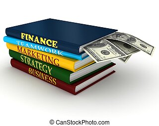 Business books with money. 3d rendered image