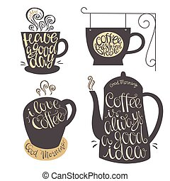 Hand lettering design for coffee shop, restaurants, menu. -...