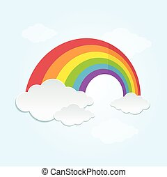 Rainbow and Cloud in The Sky. Vector