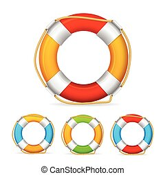 Life Buoy Color Set Vector - Life Buoy Color Set Ship...