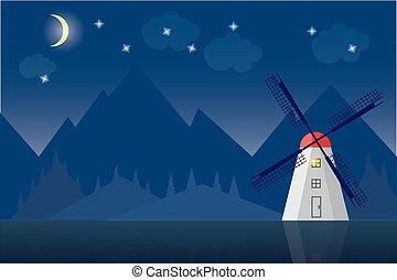 Windmill in mountain landscape