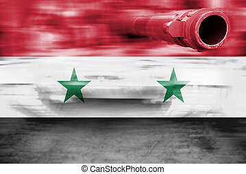 military strength theme, motion blur tank with Syria flag